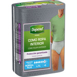 Depend calzoncillo incontinencia hombre absorcion normal plus talla l xl por 9 unidades en bolsa