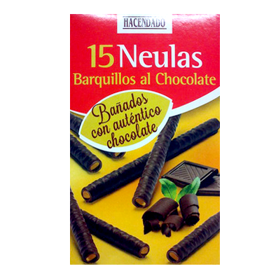 Hacendado barquillo neula tubo cubierto chocolate helado *verano* de 150g. en paquete