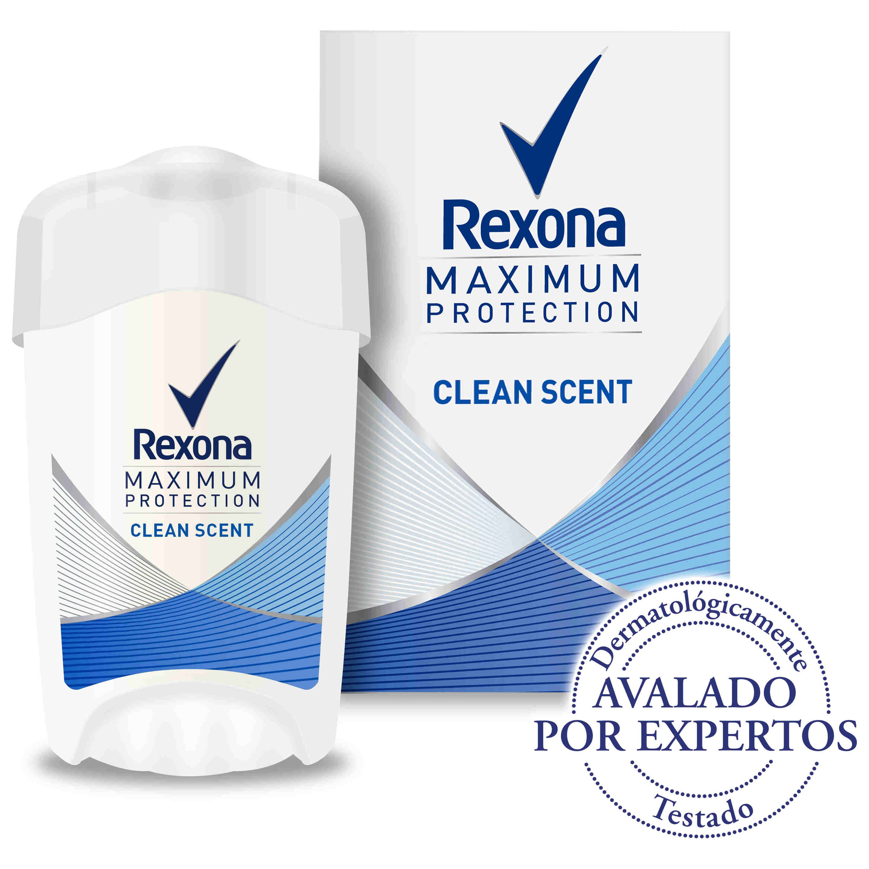 Rexona women maximum protection desodorante en crema clean fresh scent envase de 45ml.