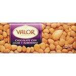 Valor chocolate con leche almendras tableta de 250g.