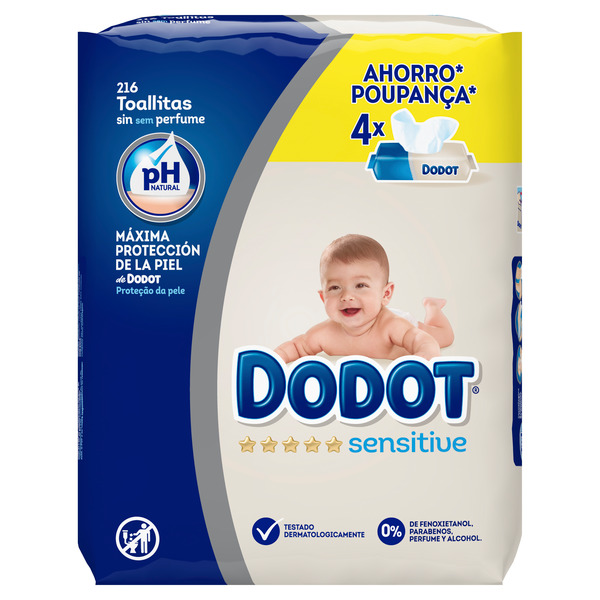 Dodot Sensitive dodot sensitive toallitas, 216 toallitas 54 por 4 unidades