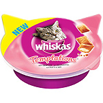 Whiskas temptations snacks gatos frutos del mar envase de 60g.
