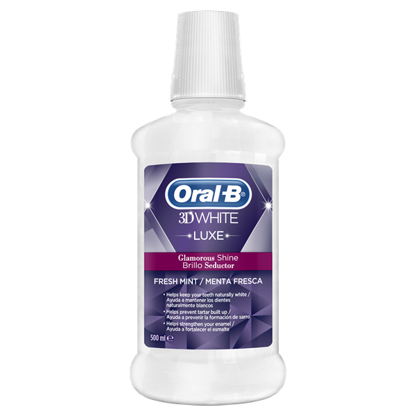 Oral B 3d white luxe enjuague bucal brillo seductor menta fresca de 50cl. en bote