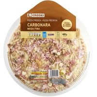 Eroski pizza carbonara de 400g.