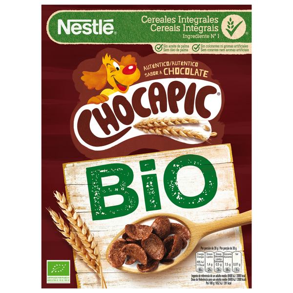Chocapic nestle original cereales integrales chocolateados ecologicos de 330g. en paquete