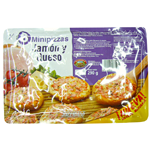 Hacendado pizza congelada jamon york queso mini 6 de 290g.