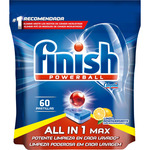 Finish detergente lavavajillas power ball todo en 1 limon 60 en pastilla