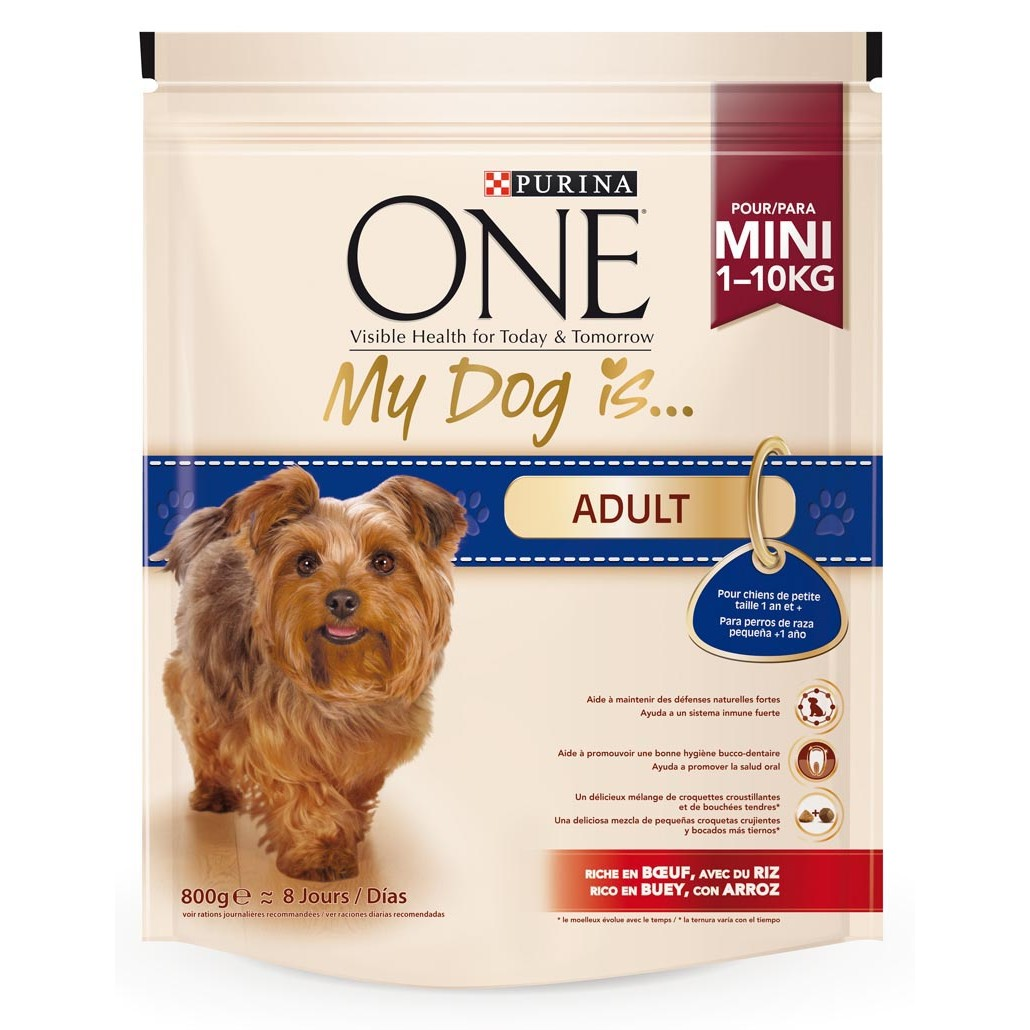 Purina One Mini my dog is adult alimento perros raza pequeña adultos rico en pollo arroz de 800g. en paquete