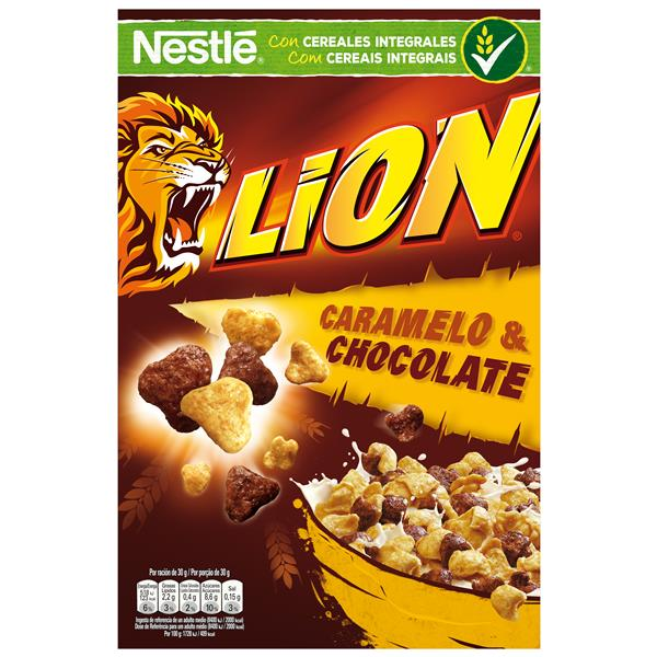 Nestlé Lion cereales con chocolate caramelo lion de 675g.