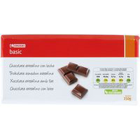 Eroski Basic chocolate con leche tableta de 150g.