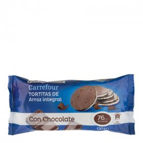 Carrefour tortita arroz integral bañada con chocolate de 130g.