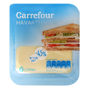 Carrefour lonchas havarti light de 200g.