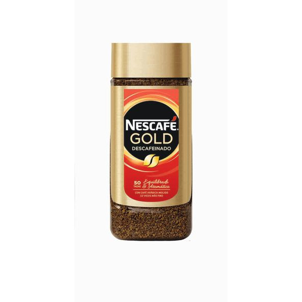Nescafé cafe descafeinado soluble gold de 100g.