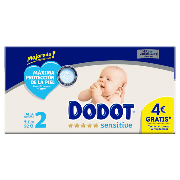 Dodot Sensitive dodot sensitive pañales talla 2, 92 pañales, 4-8kg 92