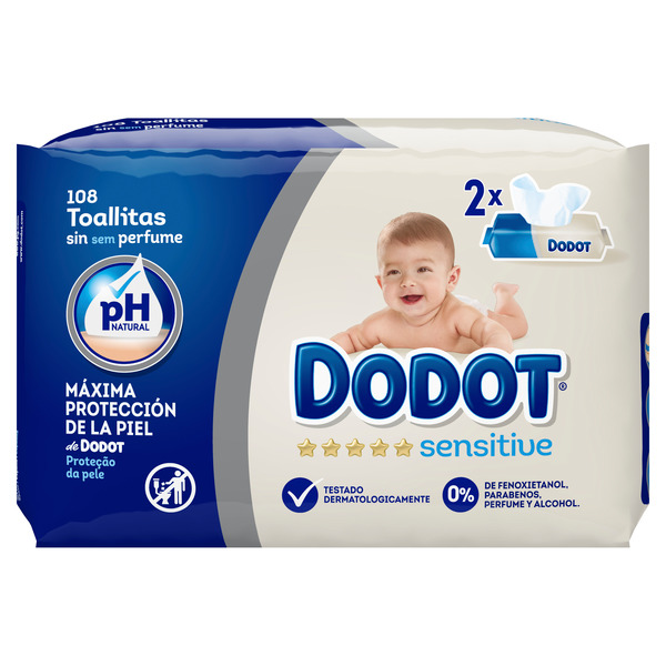 Dodot Sensitive toallitas dodot sensitive 108 recambio (2 packs de 54) 54 por 2 unidades