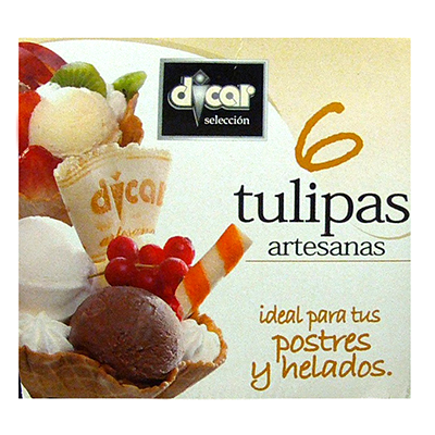 Dicar barquillo tulipa chocolate helado postre *verano* de 24,5g. por 6 unidades en caja
