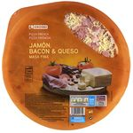 Eroski pizza fresca jamon bacon queso de 390g.