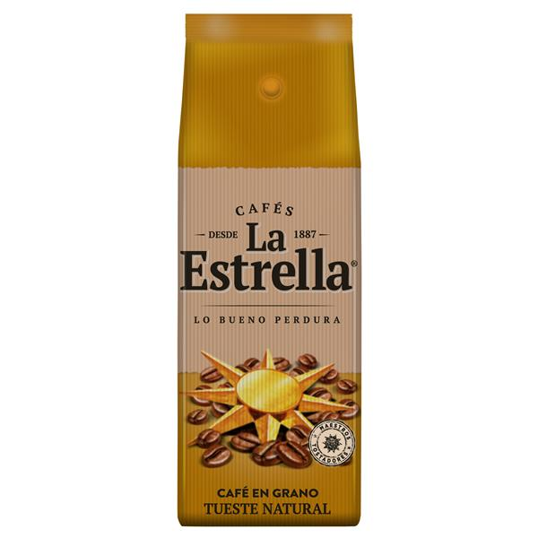 La Estrella cafe en grano tueste natural de 500g.