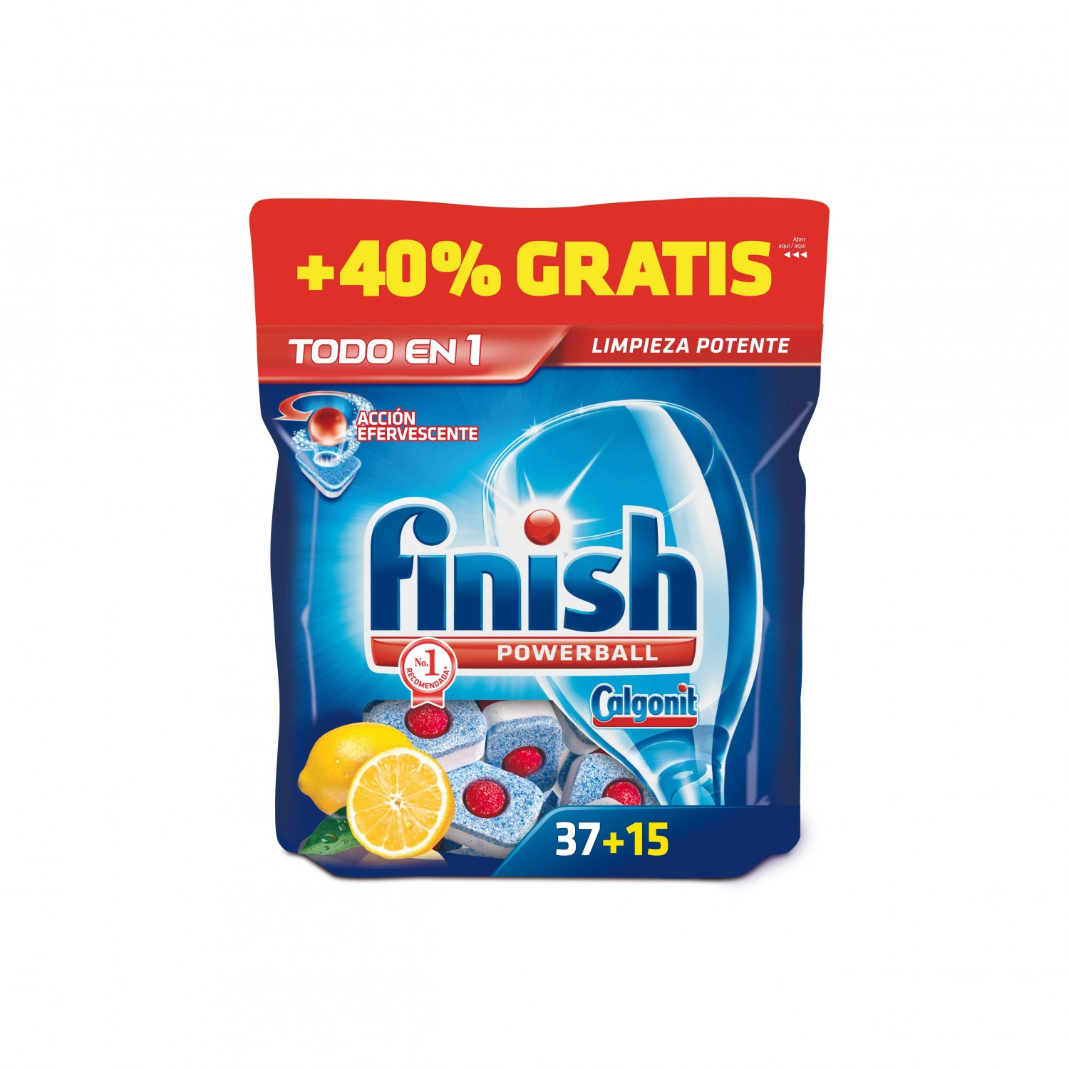 Finish calgonit detergente lavavajillas power ball todo en 1 limon accion efervescente 15 gratis 37 en pastilla