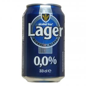 Carrefour cerveza lager blond sin alcohol de 33cl.