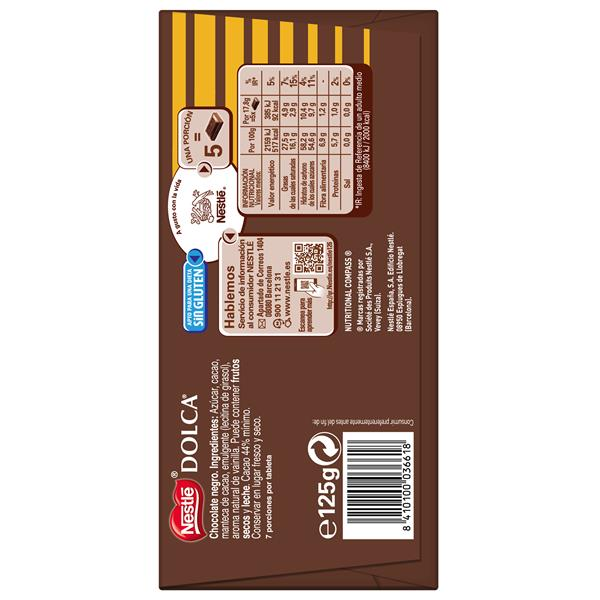 Dolca chocolate negro 0% leche tableta de 125g.