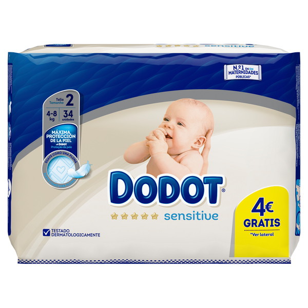 Dodot Sensitive dodot sensitive pañales talla 2, 34 pañales, 4-8kg 34