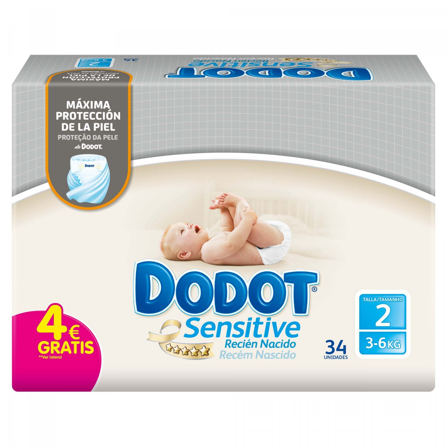 Dodot Sensitive pañal recien nacido talla 2 sensitive 34