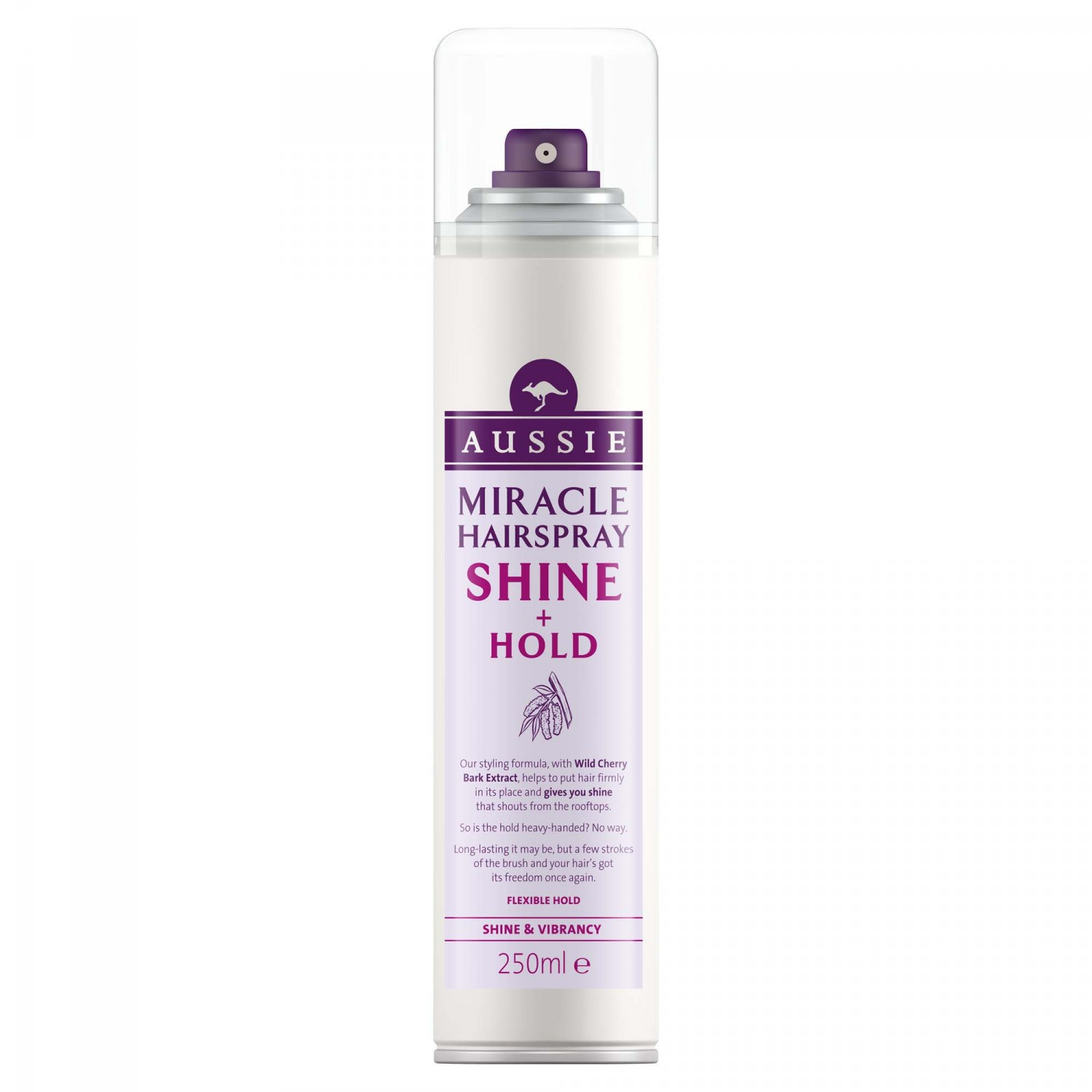 Aussie aussie laca shine hold con extracto cerezo silvestre brillo vitalidad de 25cl. en spray