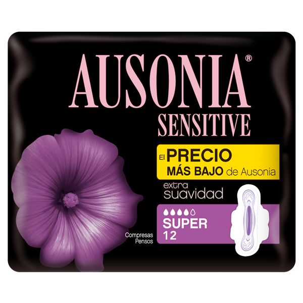 Ausonia sensitive compresas super con alas por 12 unidades en bolsa
