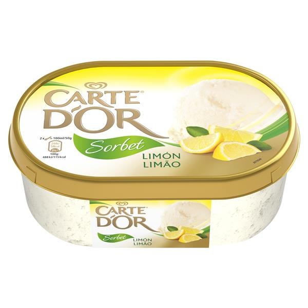 Carte D'or cdo sorbete limon low sugar 1l 500g de 1l.