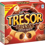 Kelloggs tresor break sticks cereales rellenos chocolate avellanas 5 packs x 2 estuche de 130g.
