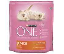Purina alimento completo gatos junior rico en pollo one de 1,5kg.