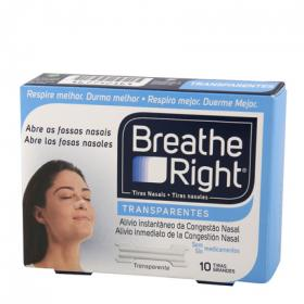 Tira nasal transparente breathe right por 10 unidades