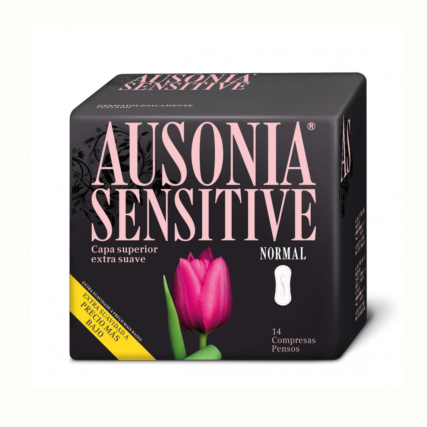 Ausonia compresa sensitive normal sin alas por 14 unidades en bolsa