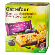 Carrefour barritas cereales chocolate uvas pasas de 125g.