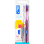 Vitis cepillo dental medio con cabezal normal dureza media blister regalo pasta dentifrica de 15ml. por 2 unidades