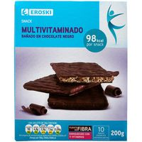Eroski snacks chocolate negro de 200g. en caja
