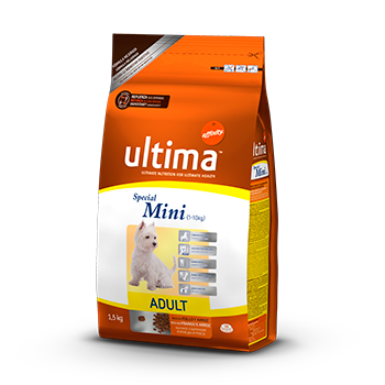 Ultima health dog mini rico en pollo arroz de 1,5kg. en paquete