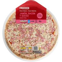 Eroski pizza jamon bacon queso de 580g.