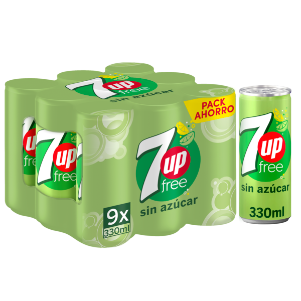 7up refresco lima limon sin azucar lima de 33cl. por 9 unidades