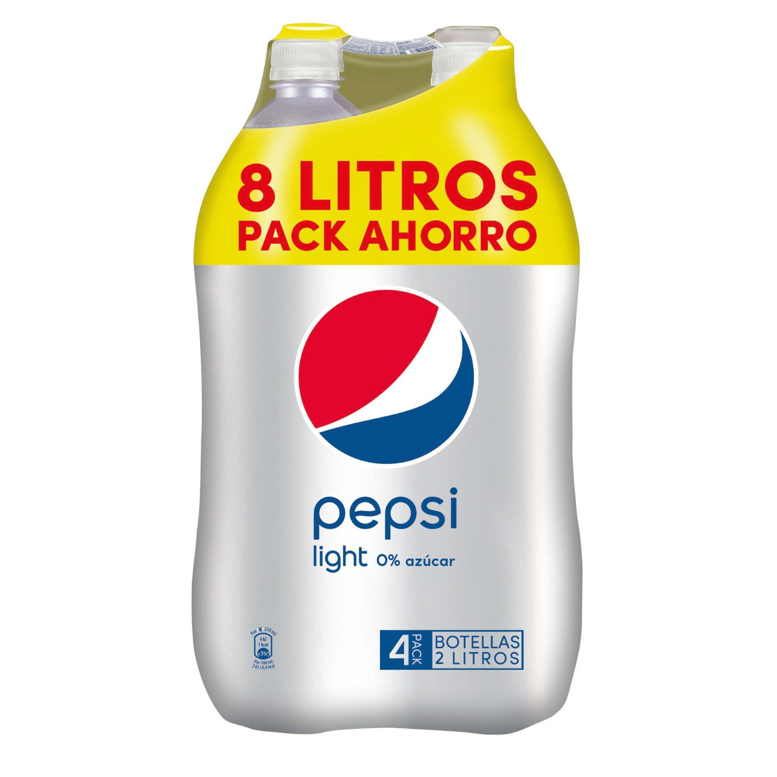 Pepsi light refresco cola 0% azucar de 2l. por 4 unidades en botella