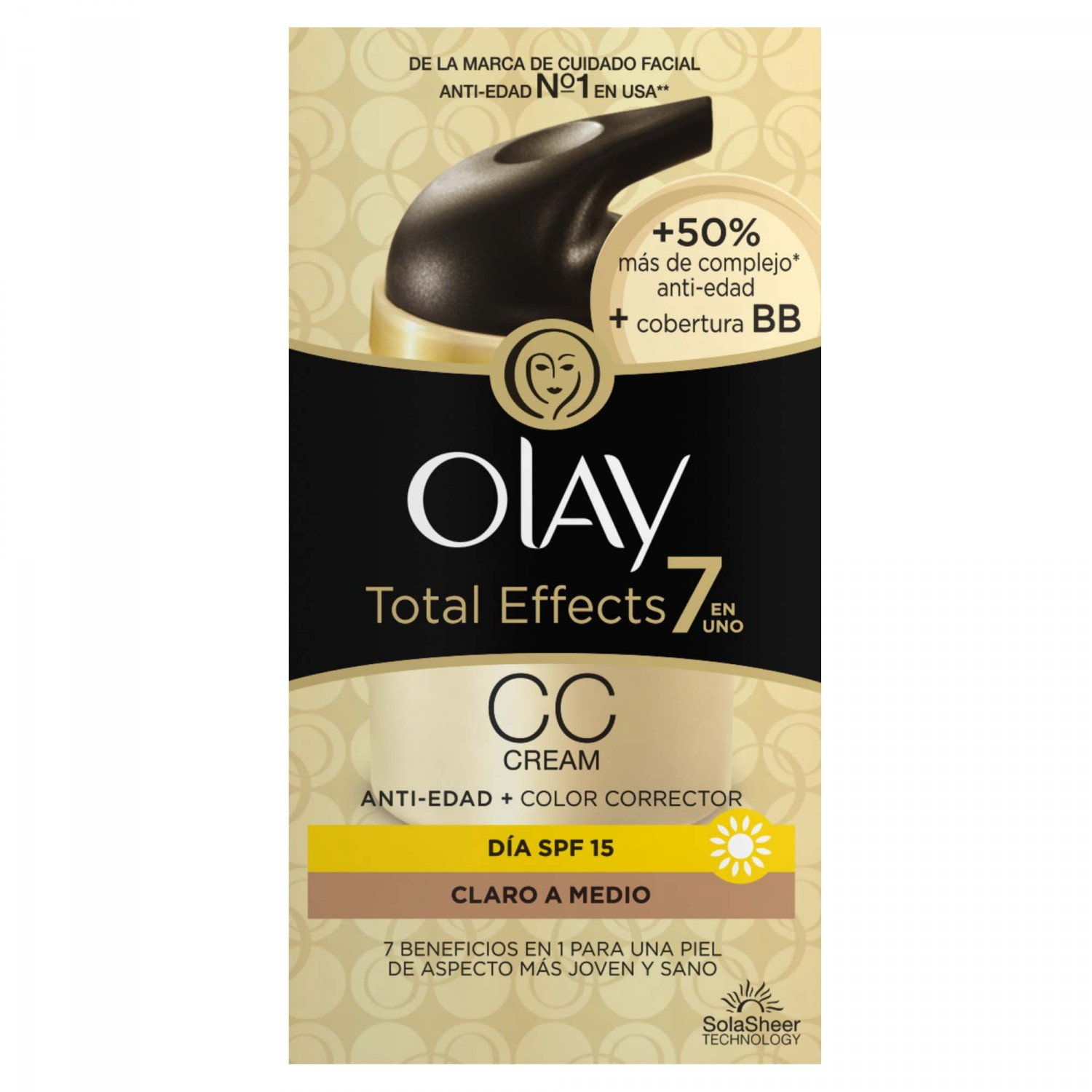 Olay total effects cc cream claro medio de 50ml.