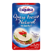 Exquisa queso fresco natural loncheado de 125g.