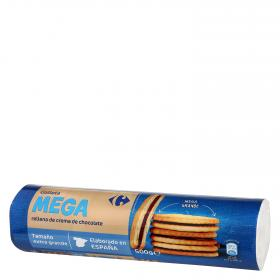 Carrefour galletas rellenas crema chocolate mega de 500g.