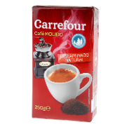 Carrefour cafe molido natural descafeinado de 250g.