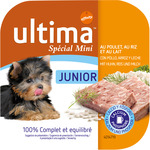 Ultima junior special mini alimento perros con pollo arroz leche de 150g. en tarrina