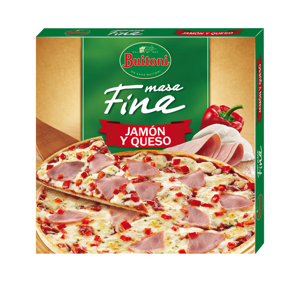 Buitoni pizza fina queso jamon de 340g.