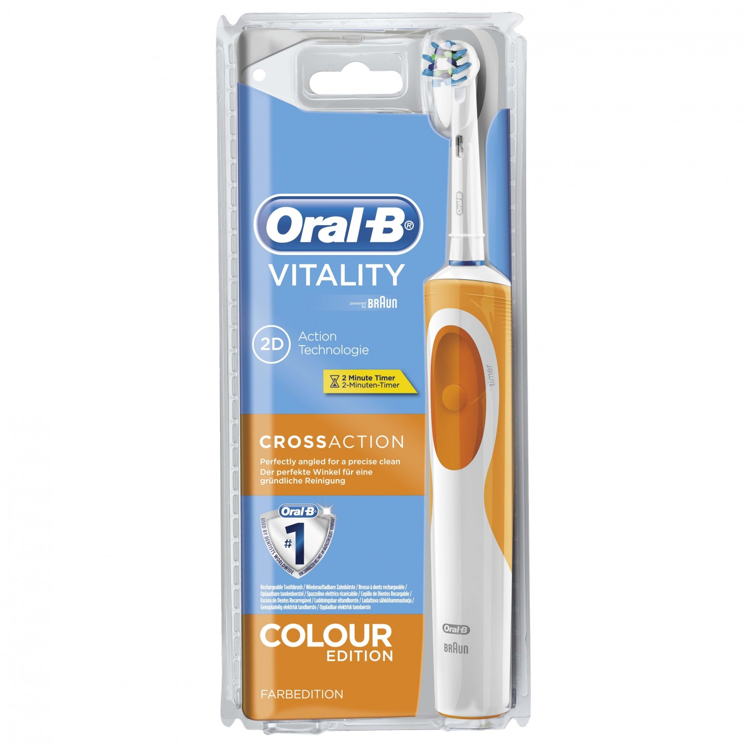 Oral B cepillo dental electrico vitality cross action naranja blister