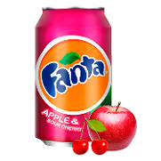 Fanta refresco manzana cereza acida de 33cl.