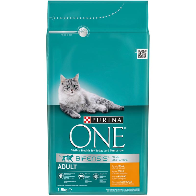Purina One gato adulto rico en pollo cereales integrales de 1,5kg.